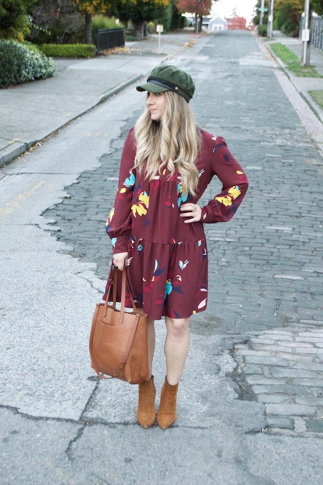 Fall Floral Dress & Bakers Cap