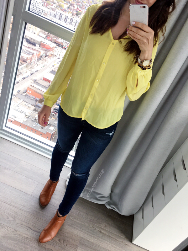 Yellow Blouse Spring Outfit - Tori's Pretty Things Blog