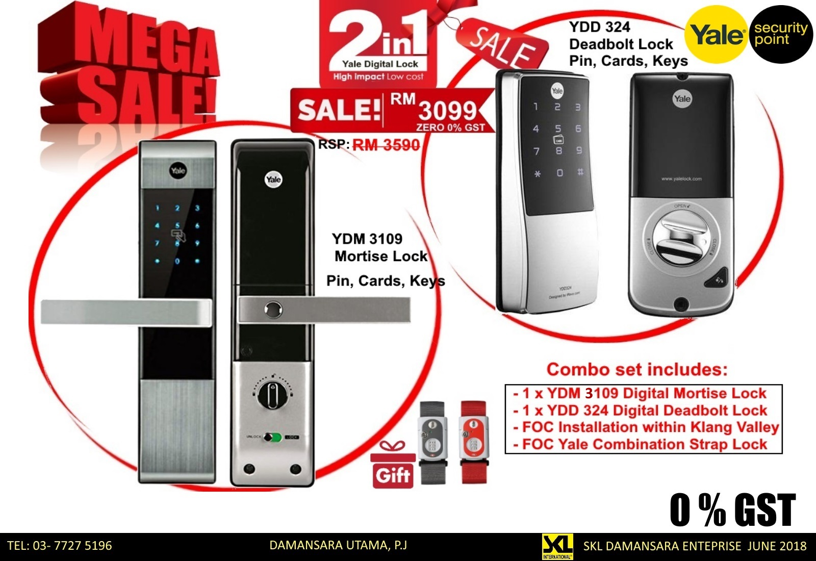 Zero GST Mega Saver!!! Get a Yale YDM3109 & YDD 324 combo for only RM 3099 instead of RM 3590.