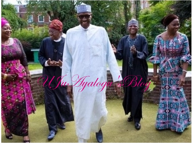 President Buhari all smiles as Lai Mohammed leads Abike Dabiri, others to London (photos)