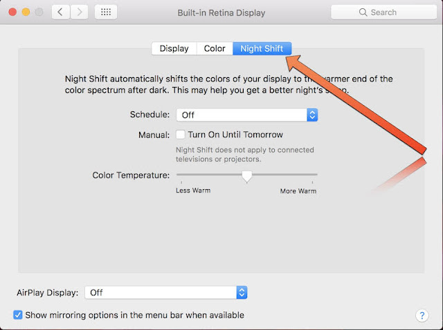 There are few options where you can enable or turn on Night Shift Mode in Mac running macOS Sierra and High Sierra. It might be little tricky