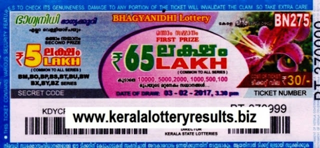 Kerala lottery result official copy of Bhagyanidhi (BN-279) on  03.03.2017