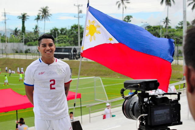 Batangas' own Junior Munoz being interviewed at the Aboitiz Football Cup.  Image source:  Aboitiz Football Cup Facebook page.