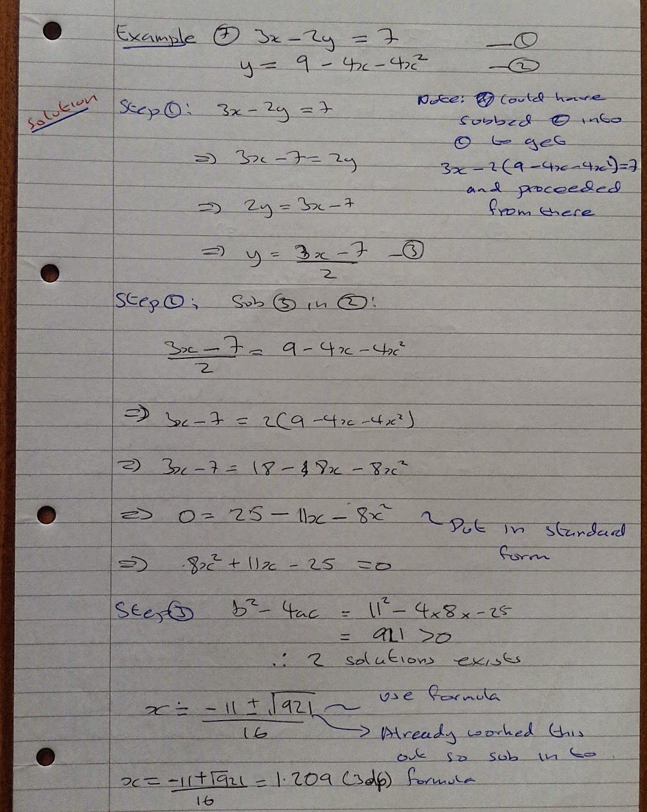 A Level Maths Notes As Simultaneous Equations Solving One Linear And One Quadratic Equations