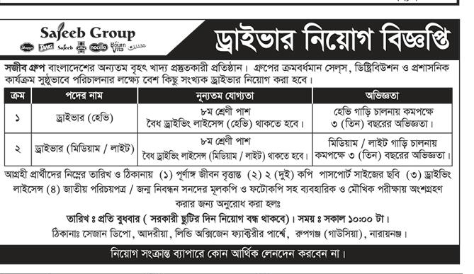 Sajeeb Group Driver Job Circular 2018