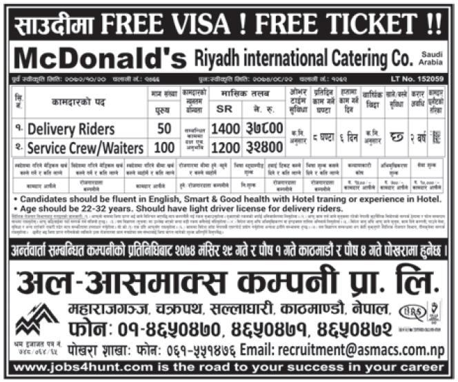 Free Visa Free Ticket Jobs in Saudi Arabia for Nepali, Salary Rs 37,800