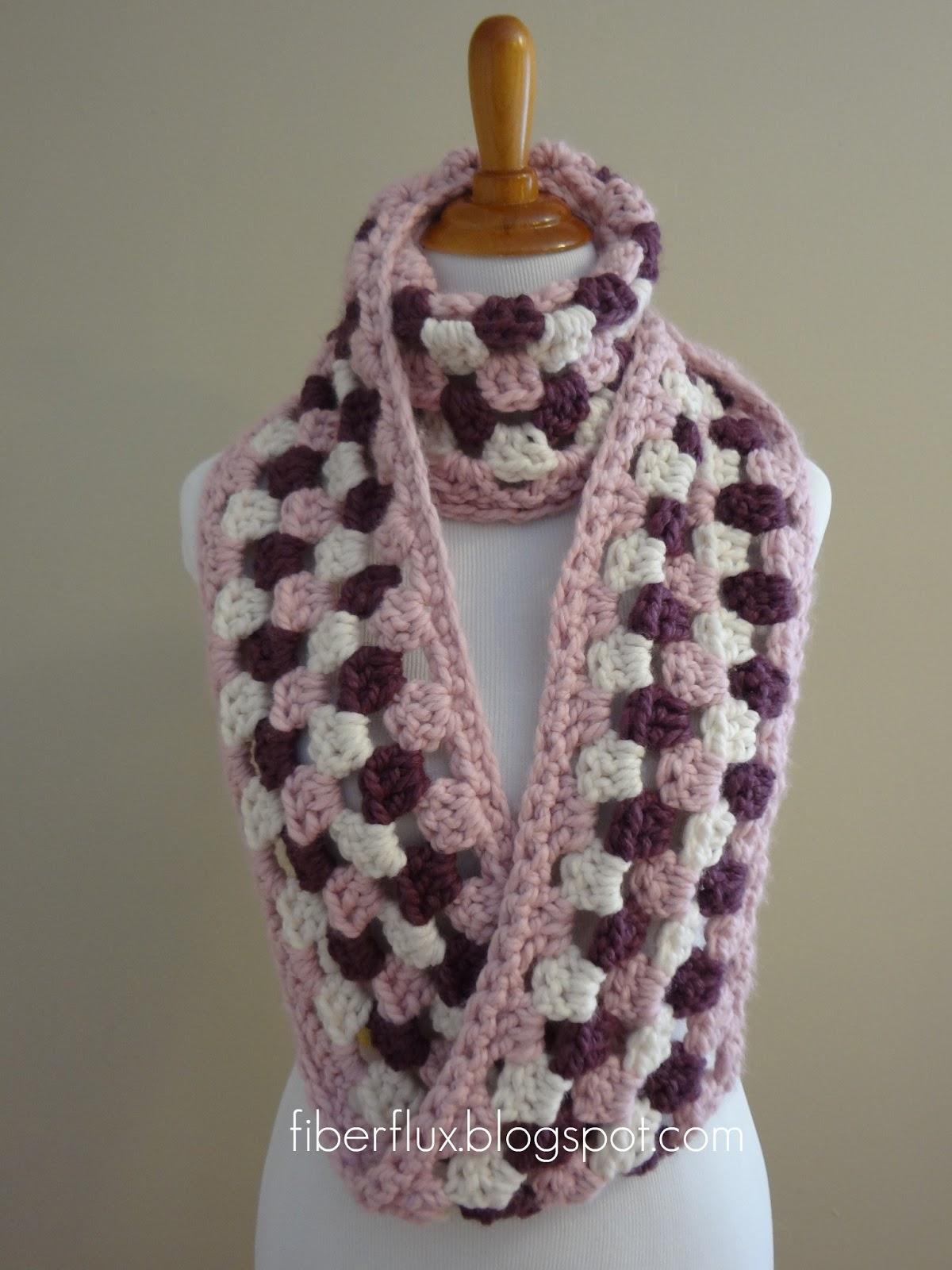Fiber Flux: Free Crochet Pattern...Cherries In Bloom Infinity Scarf