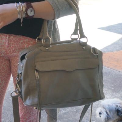 Rebecca MInkoff MAM bag soft grey Pink leopard print skinny jeans | AwayFromTheBlue