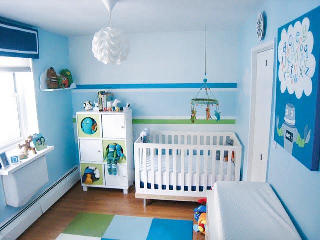 Cicideko Mavi Renk Tonlarında Bebek Odası Dekorasyonu