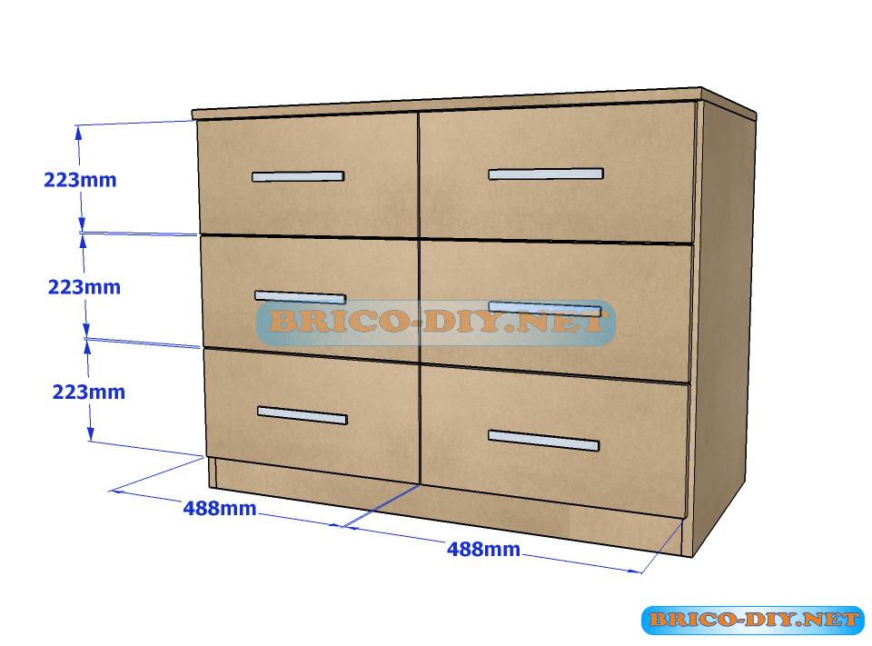 Plano y medidas como hacer una comoda con gavetas de mdf for Muebles con cajones de madera