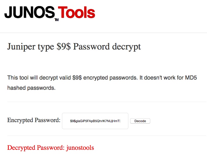 Ken Felix Security Blog: decrypt junos $9 passwords