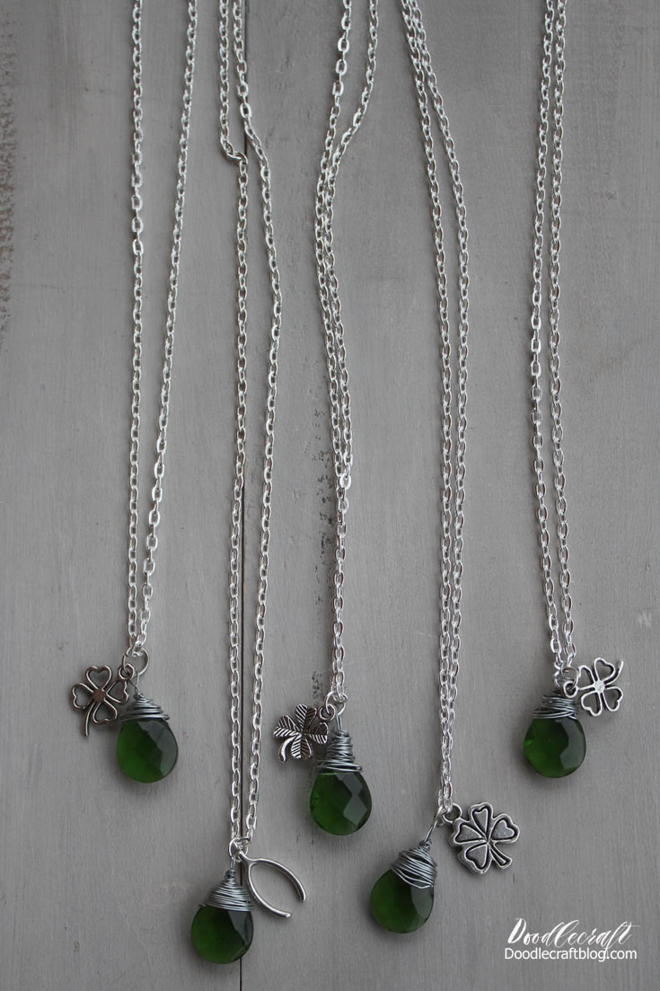 Doodlecraft: Wire Wrapped St. Patrick\'s Day Lucky Necklace!