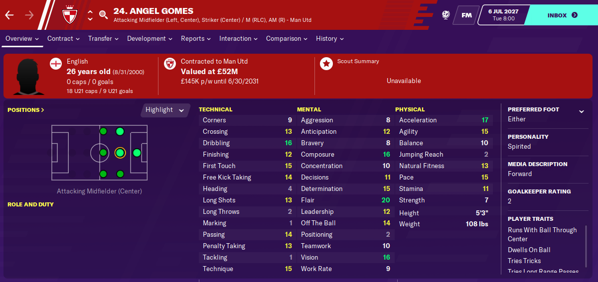 Angel Gomes: Attributes in 2027 season