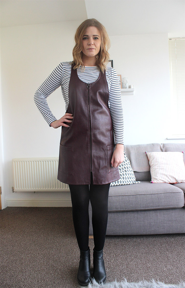 Primark leather pinafore dress