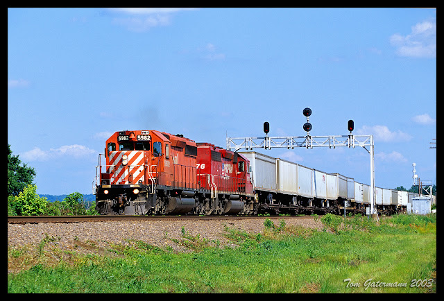CP 5982 and CP 5776 Passing Under Signal Bridges At Gorham, Illinois
