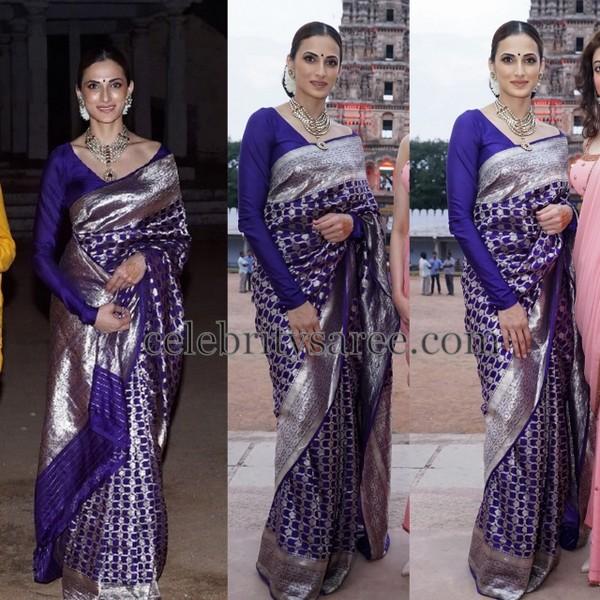 Shilpa Reddy Blue Benaras Saree