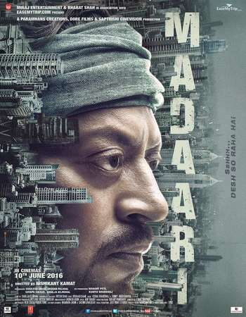Poster Of Madaari 2016 Hindi 550MB BRRip 720p ESubs HEVC Watch Online Free Download downloadhub.in