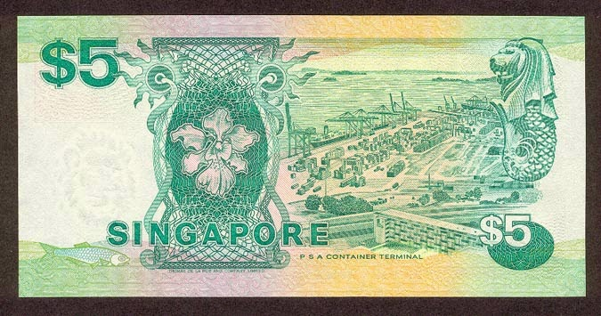 Singapore 5 Dollar note Ship Series
