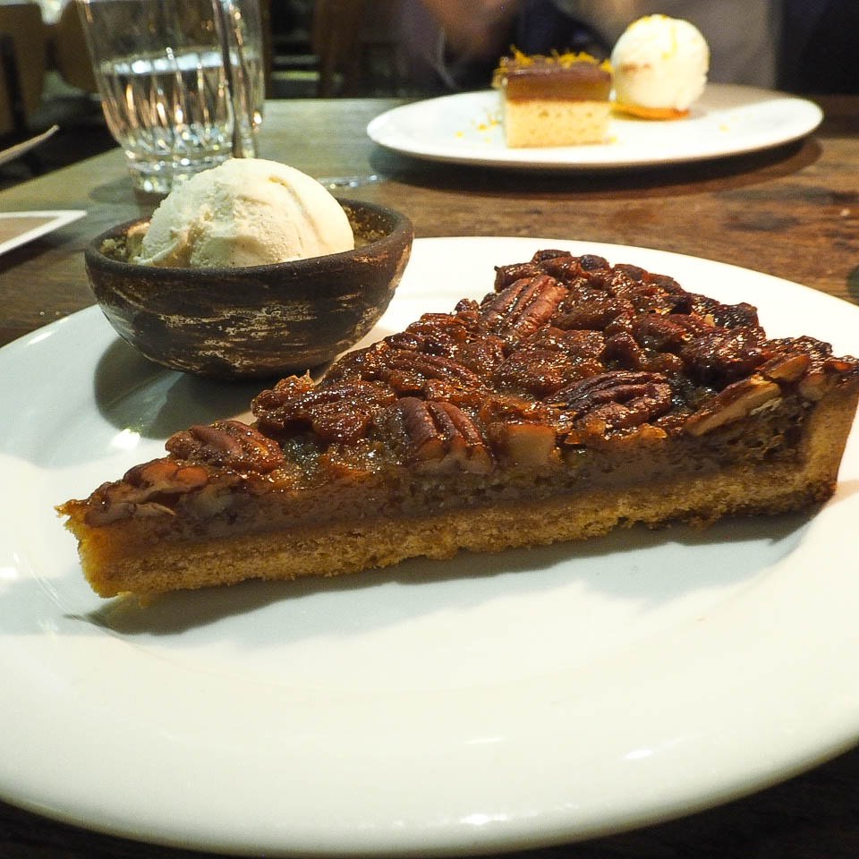 Pecan pie and vanilla ice cream