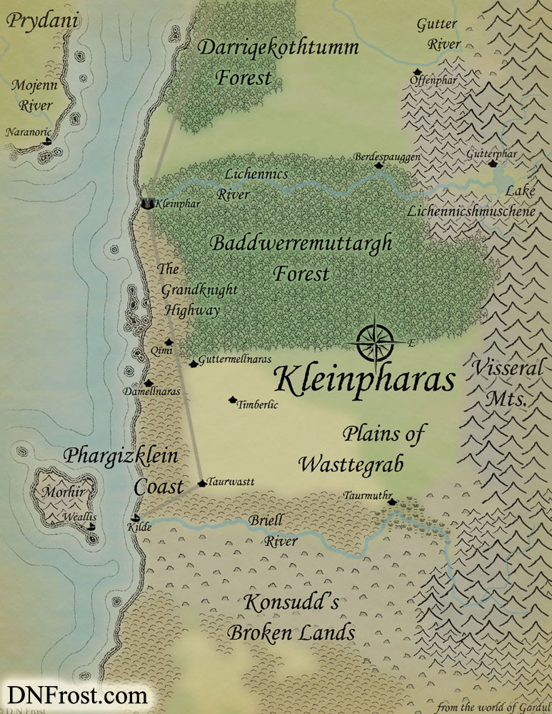 Kleinpharas of Gardul, a map commission by D.N.Frost for Jeffery W Ingram http://www.dnfrost.com/2016/05/kleinpharas-of-gardul-map-commission.html Part 1 of a series.