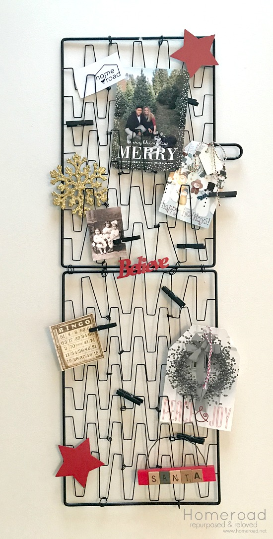 Repurposed Christmas card display for Christmas