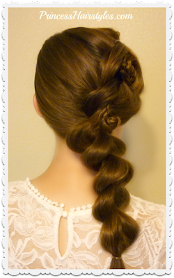 Cute Homecoming hairstyle. Pull through braid with flower braid accents. Video tutorial.