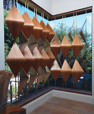3D blinds made of diamond wooden pieces