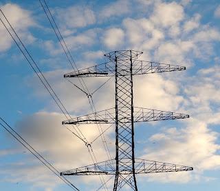 Power line pylon in Barker Reservoir