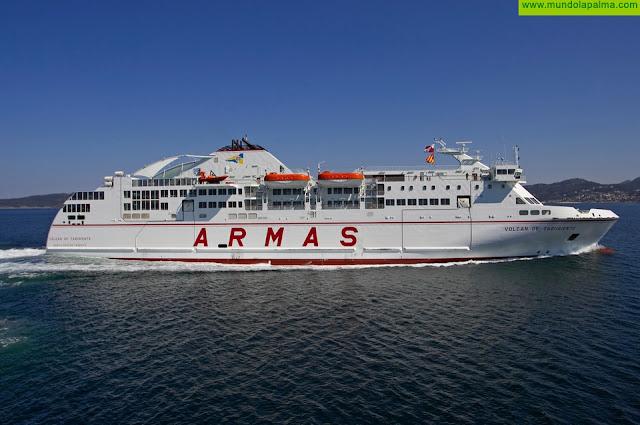 El ferry Volcán de Taburiente se reincorpora tras su varada anual reglamentaria