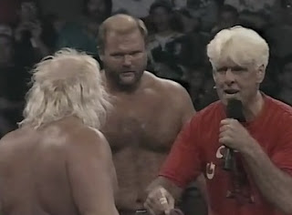 WCW SUPERBRAWL VI 1996 - Ric Flair told Arn Anderson and Taskmaster to work together to destroy Hogan and Savage