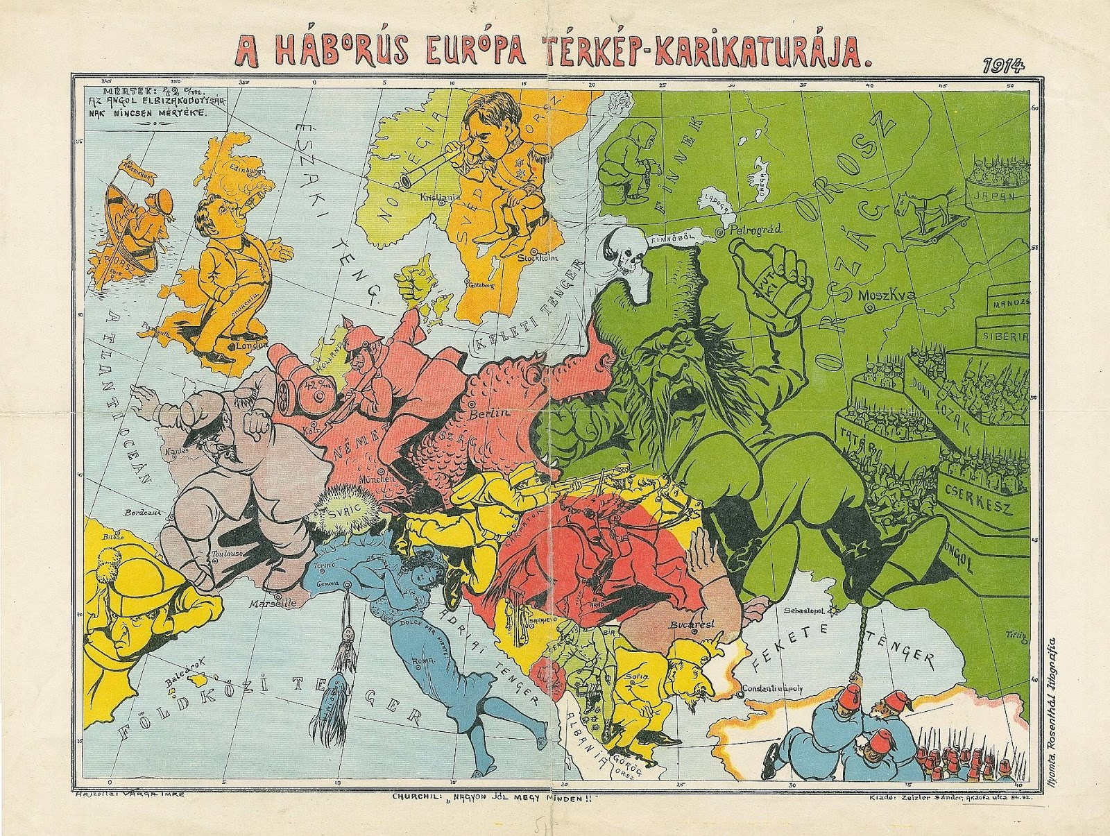 Caricature War map of Europe (1914) (Hungarian)