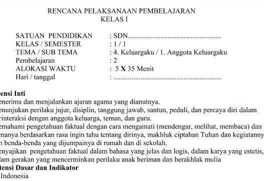 RPP Kurikulum 2013 Kelas 1 Tema 4 Subtema 1 Pembelajaran 2