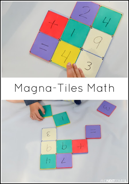 Simple elementary math activity for kids: building & practicing math equations using Magna-Tiles from And Next Comes L