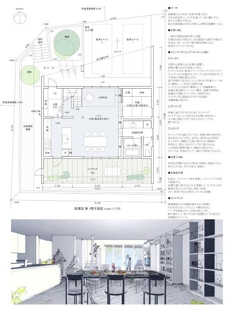 段状シルエットの中に立体的な空間を持つ住まい 平面計画1階 内観イメージ