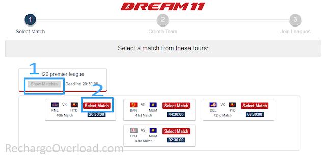 dream11 select match