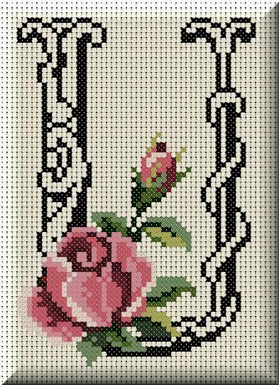 Alfabeto Monograma Com Rosas e Arabescos Em Ponto Cruz 46