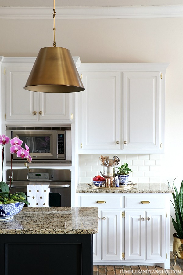 Brass pendant lights in the kitchen dimples and tangles for Brass kitchen light fixtures