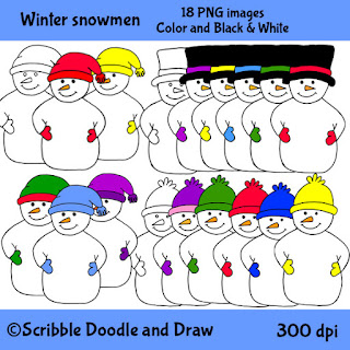 Winter snowmen clip art with hats and mittens