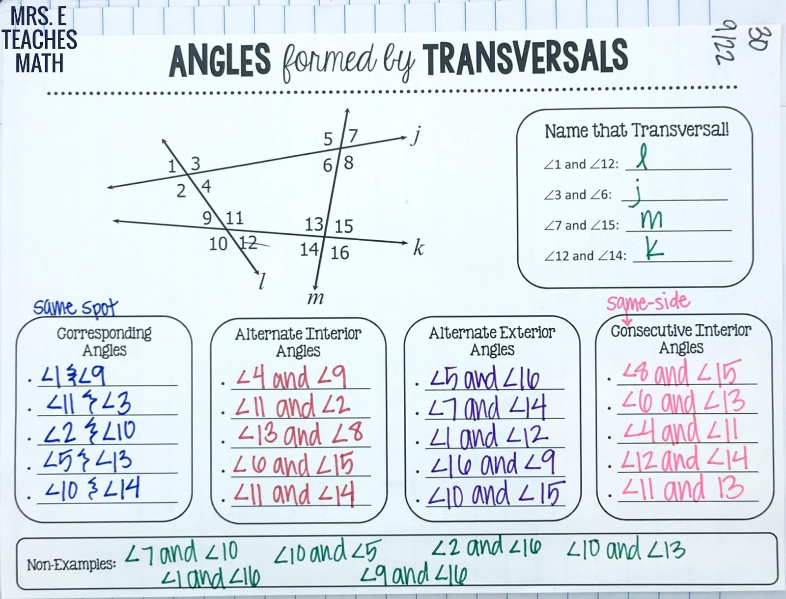 worksheet Parallel Lines And Transversals Worksheets parallel lines inb pages mrs e teaches math angles formed by and transversals graphic organizer for interactive notebooks in geometry