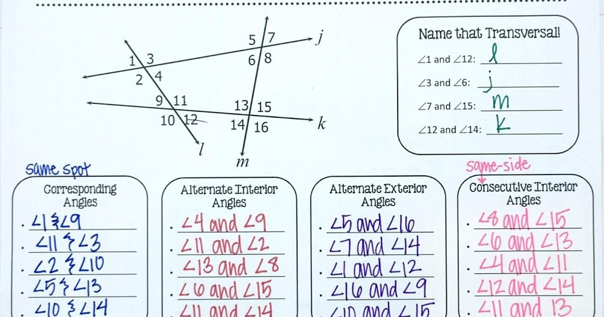 Parallel Lines INB Pages | Mrs. E Teaches Math