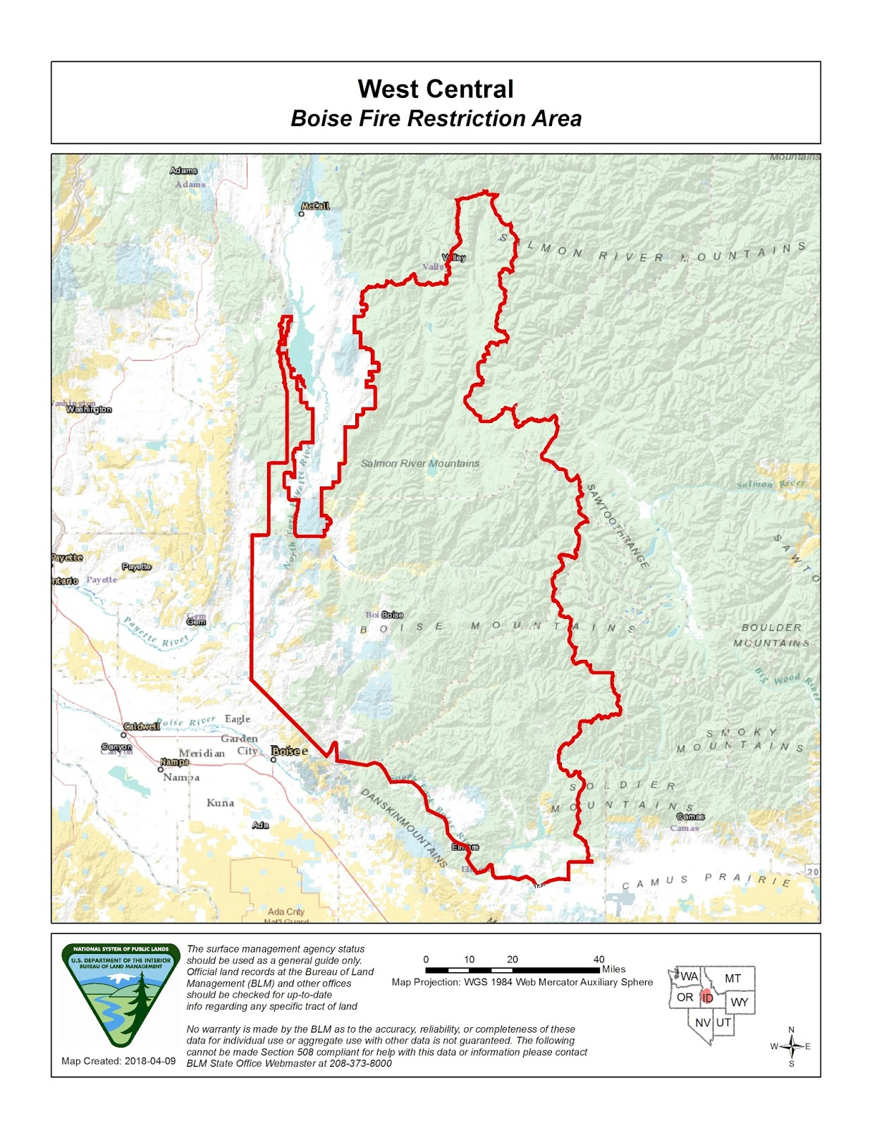 Idaho Fire Information: Boise Fire Restriction Area on idaho rivers, idaho location on map, idaho county map, idaho blm maps, idaho nrcs mlra map, idaho natural resources map, boulder city idaho map, idaho department of lands map, u.s. federal land map, idaho hunting map, idaho most beautiful, kootenai county snow load map, idaho sand dunes map, idaho unit 28 elk population, new mexico blm land map, kootenai county zoning map, idaho land use map, idaho big game unit map,