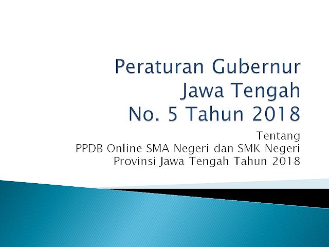 Download Pergub No. 5 Tahun 2018 Tentang PPDB Online Provinsi Jateng Tahun 2018