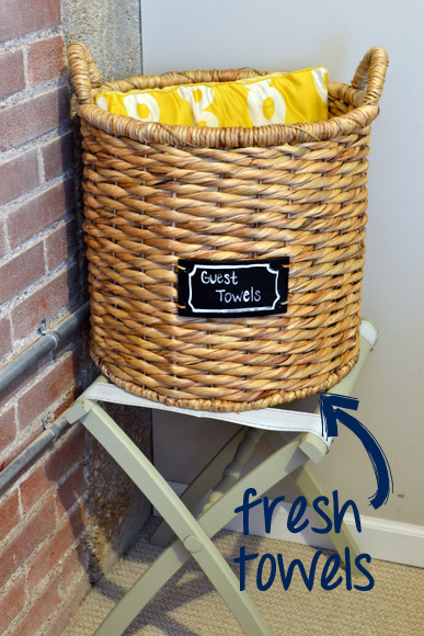 Towels in wicker basket for guests