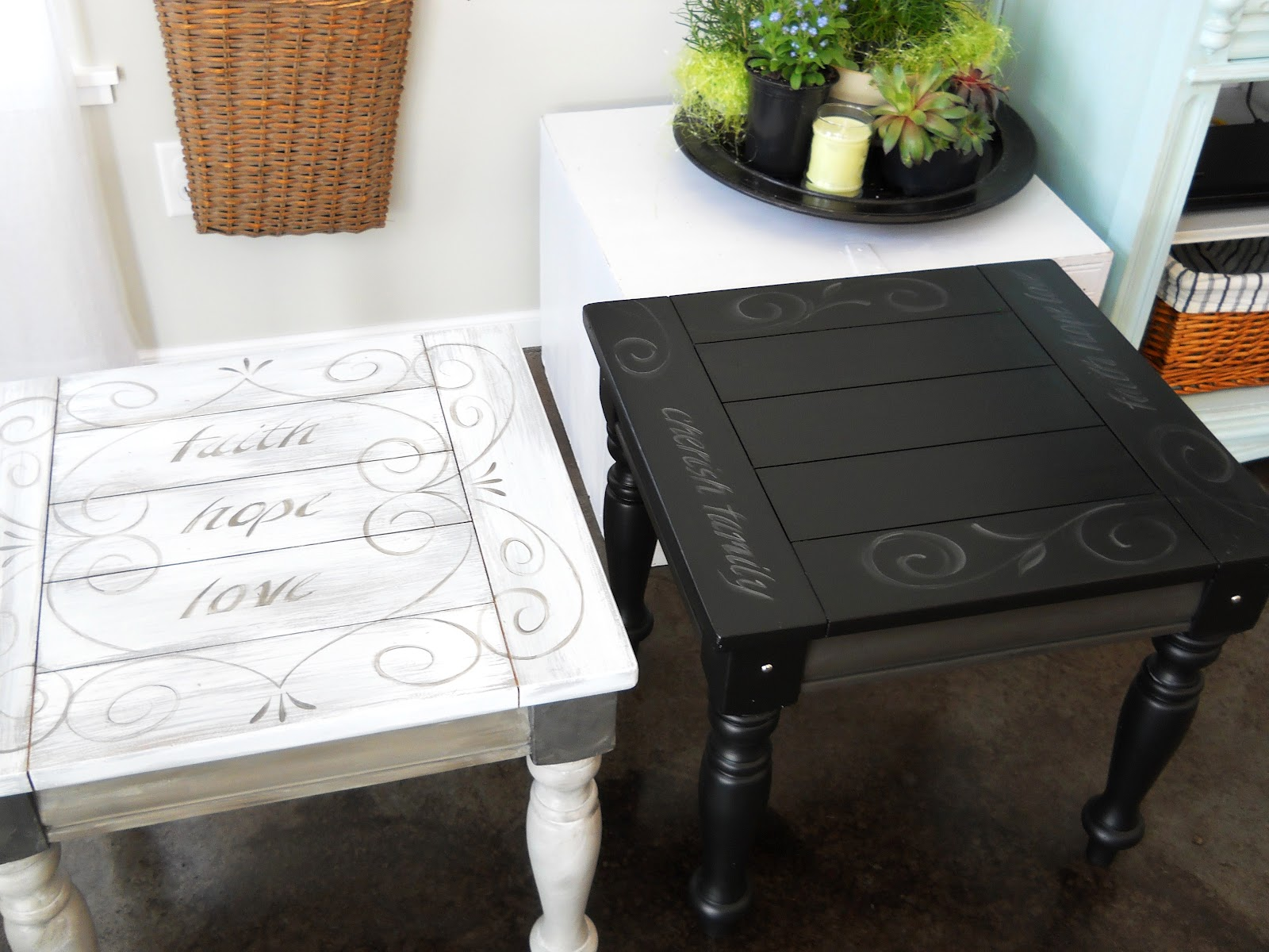 Black End Table With Painted Scroll And Text