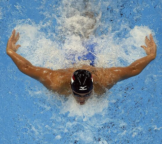 Olympic swimmer Nathan Adrian in a 100m butterfly competition