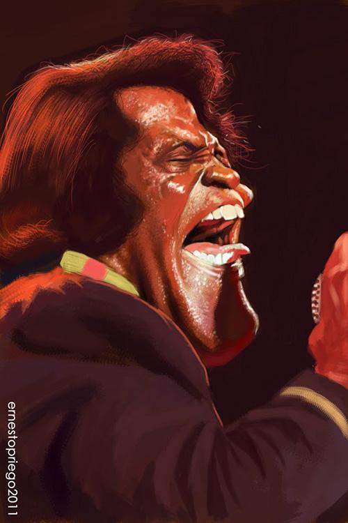 "Caricatura de ""James Brown"" por Ernesto Priego"