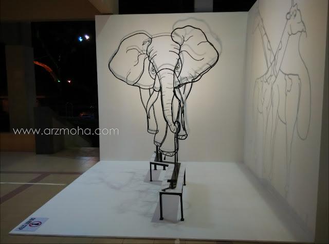 pameran seni sempena georgetown festival di dewan sri pinang, gajah, pameran seni, kreatif, arca,