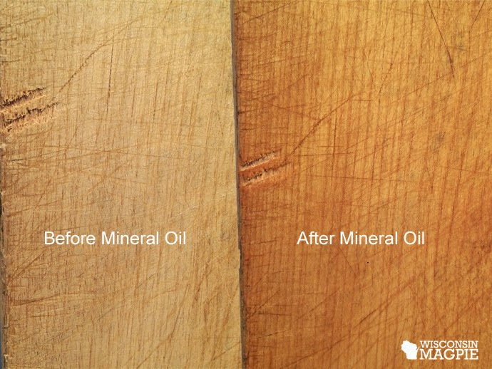 Tung oil on pine before and after