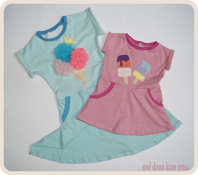 Sommerkleid, Eis-Applikation, Eiskugeln aus Tüll, Näh-Blogger Themenwoche Urlaub mit Kindern, free Tutorial, Nähanleitung,