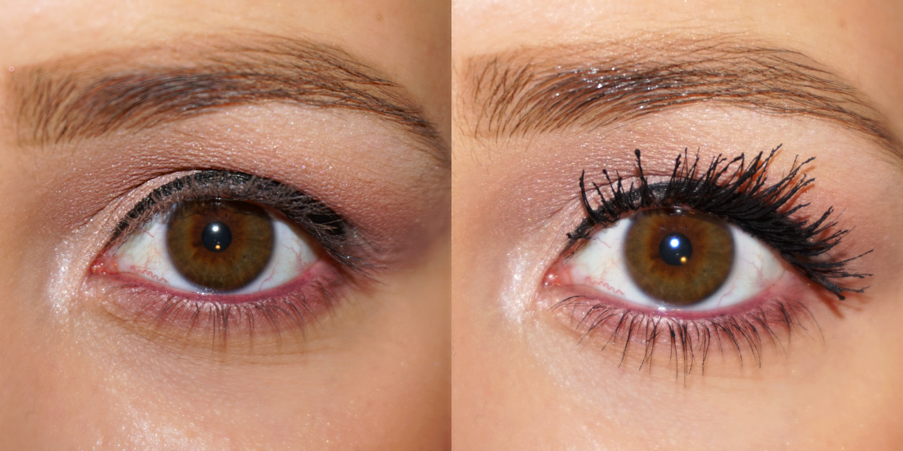 9b9586d87cc Just so you guys can see the difference: left are my lashes without any  mascara, right with about 3 layers of the Catrice Rock Couture mascara.